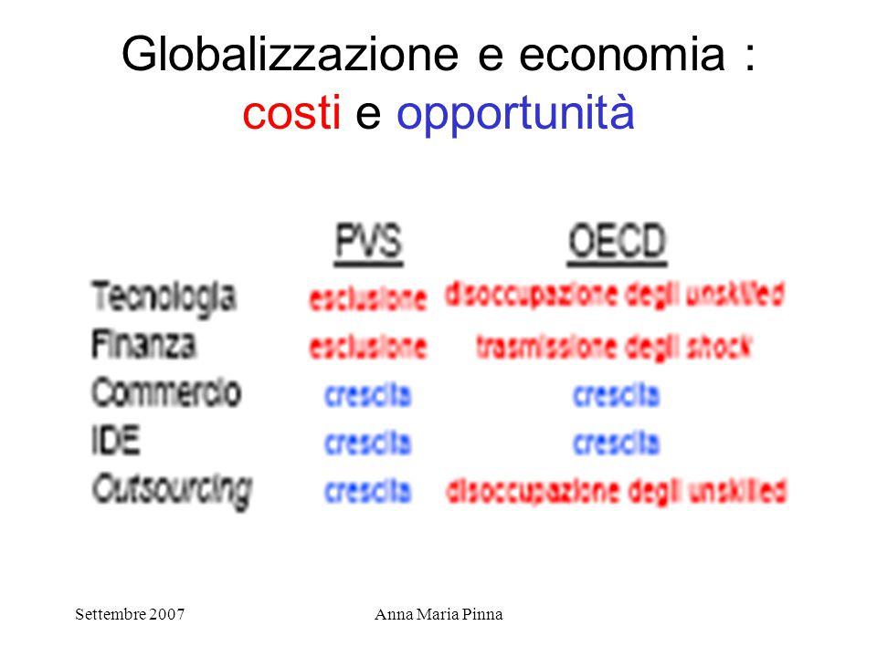 Settembre 2007Anna Maria Pinna Globalizzazione e economia : costi e opportunità