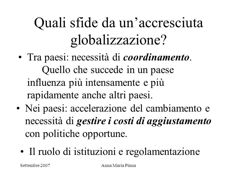 Settembre 2007Anna Maria Pinna Quali sfide da un'accresciuta globalizzazione? Tra paesi: necessità di coordinamento. Quello che succede in un paese in