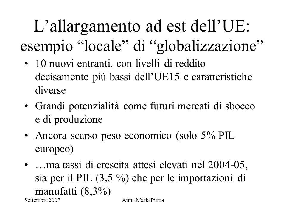 """Settembre 2007Anna Maria Pinna L'allargamento ad est dell'UE: esempio """"locale"""" di """"globalizzazione"""" 10 nuovi entranti, con livelli di reddito decisame"""
