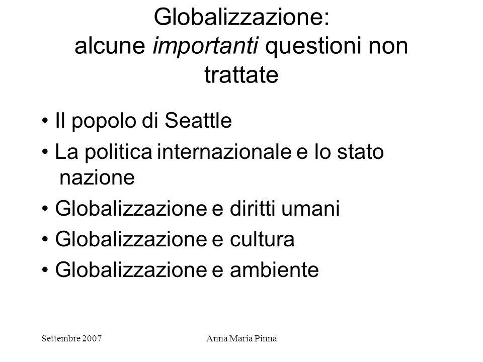 Settembre 2007Anna Maria Pinna Globalizzazione: alcune importanti questioni non trattate Il popolo di Seattle La politica internazionale e lo stato na