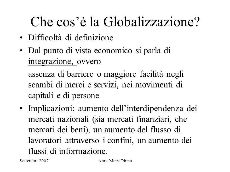 Settembre 2007Anna Maria Pinna Che cos'è la Globalizzazione? Difficoltà di definizione Dal punto di vista economico si parla di integrazione, ovvero a