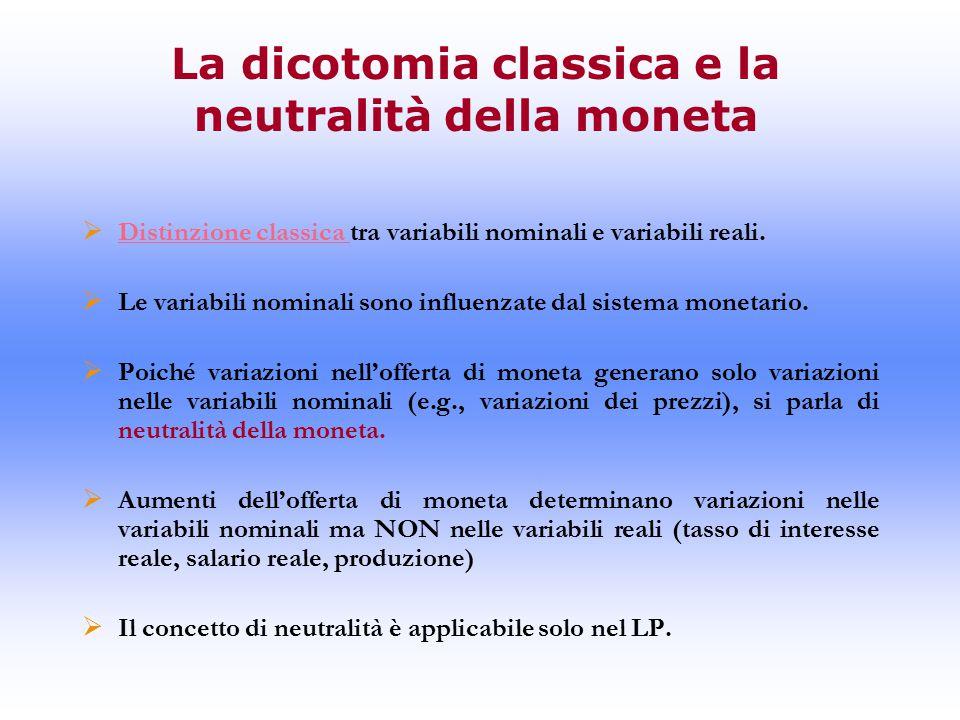 La dicotomia classica e la neutralità della moneta  Distinzione classica tra variabili nominali e variabili reali.