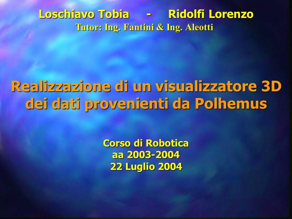 Loschiavo Tobia - Ridolfi Lorenzo Realizzazione di un visualizzatore 3D dei dati provenienti da Polhemus Corso di Robotica aa 2003-2004 22 Luglio 2004 Tutor: Ing.