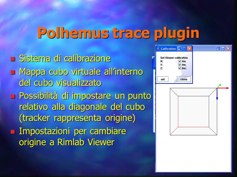 Polhemus trace plugin n Sistema di calibrazione n Mappa cubo virtuale all'interno del cubo visualizzato n Possibilità di impostare un punto relativo alla diagonale del cubo (tracker rappresenta origine) n Impostazioni per cambiare origine a Rimlab Viewer