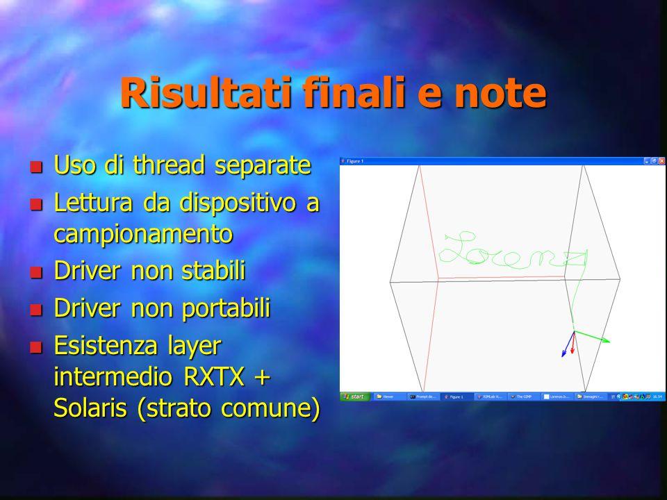 Risultati finali e note n Uso di thread separate n Lettura da dispositivo a campionamento n Driver non stabili n Driver non portabili n Esistenza layer intermedio RXTX + Solaris (strato comune)