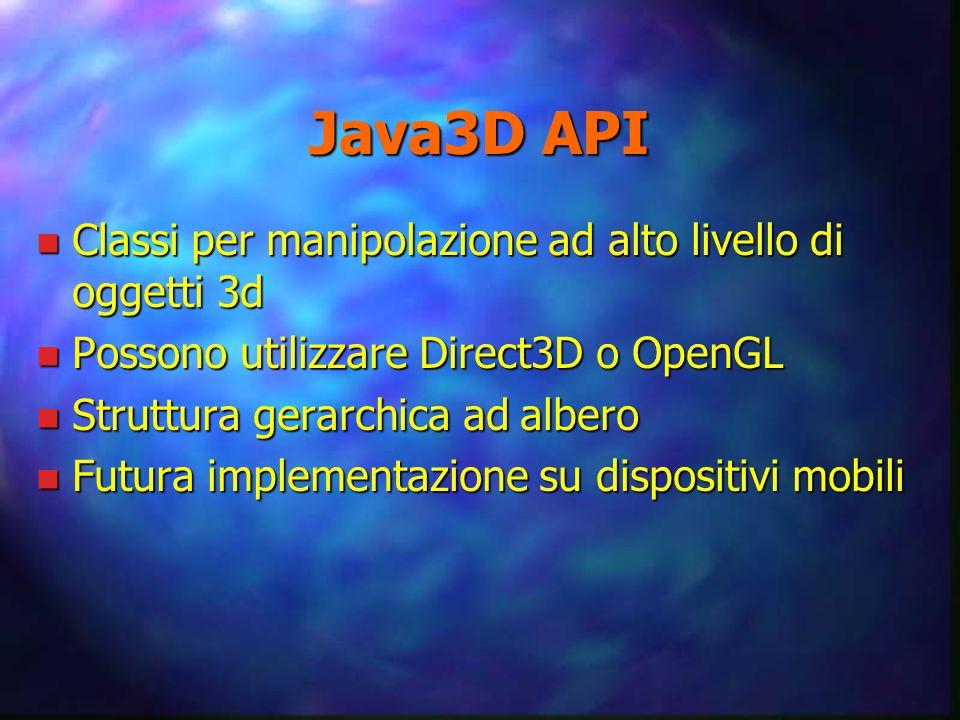 Java3D API n Classi per manipolazione ad alto livello di oggetti 3d n Possono utilizzare Direct3D o OpenGL n Struttura gerarchica ad albero n Futura implementazione su dispositivi mobili