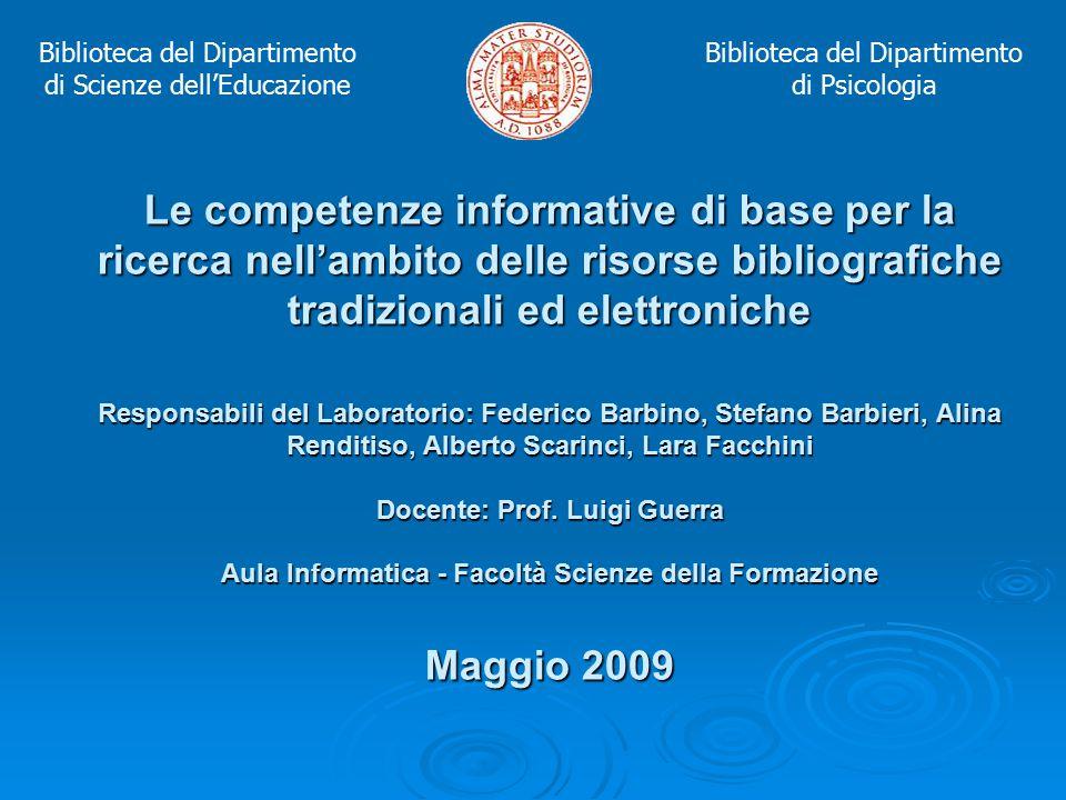 Introduzione agli OPAC per la ricerca bibliografica in rete