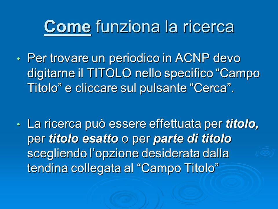 Come funziona la ricerca Per trovare un periodico in ACNP devo digitarne il TITOLO nello specifico Campo Titolo e cliccare sul pulsante Cerca .