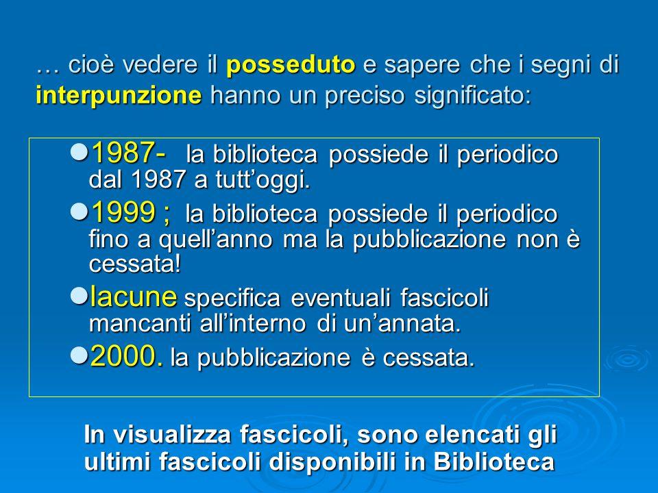 … cioè vedere il posseduto e sapere che i segni di interpunzione hanno un preciso significato: 1987- la biblioteca possiede il periodico dal 1987 a tutt'oggi.