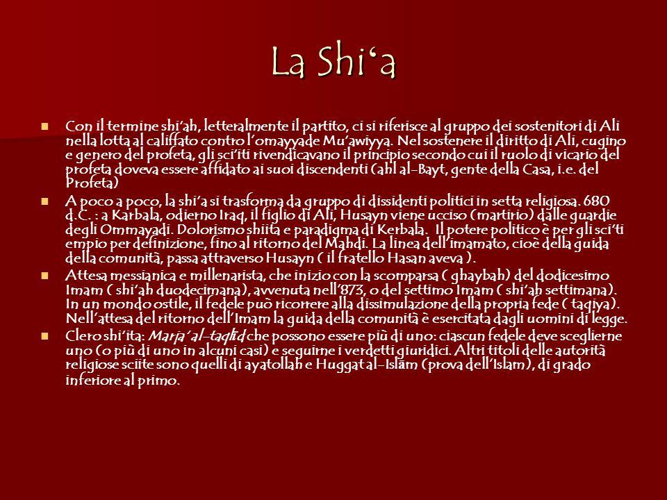 La Shi ' a Con il termine shi'ah, letteralmente il partito, ci si riferisce al gruppo dei sostenitori di Ali nella lotta al califfato contro l'omayyade Mu'awiyya.