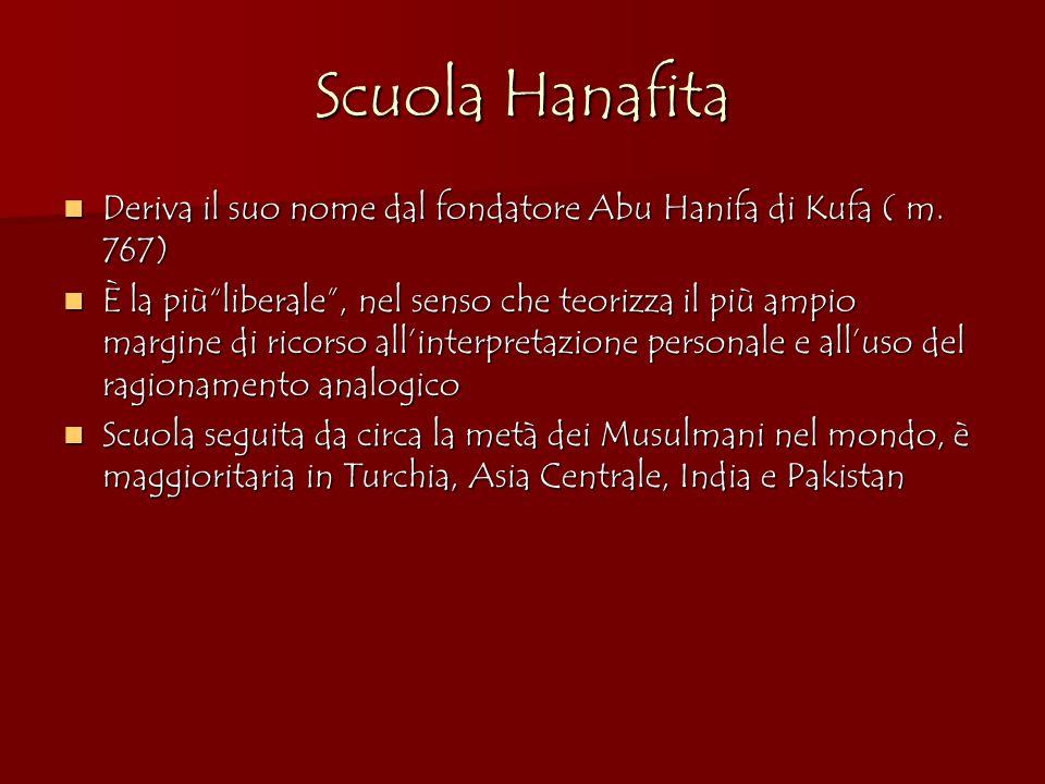Scuola Hanafita Deriva il suo nome dal fondatore Abu Hanifa di Kufa ( m.