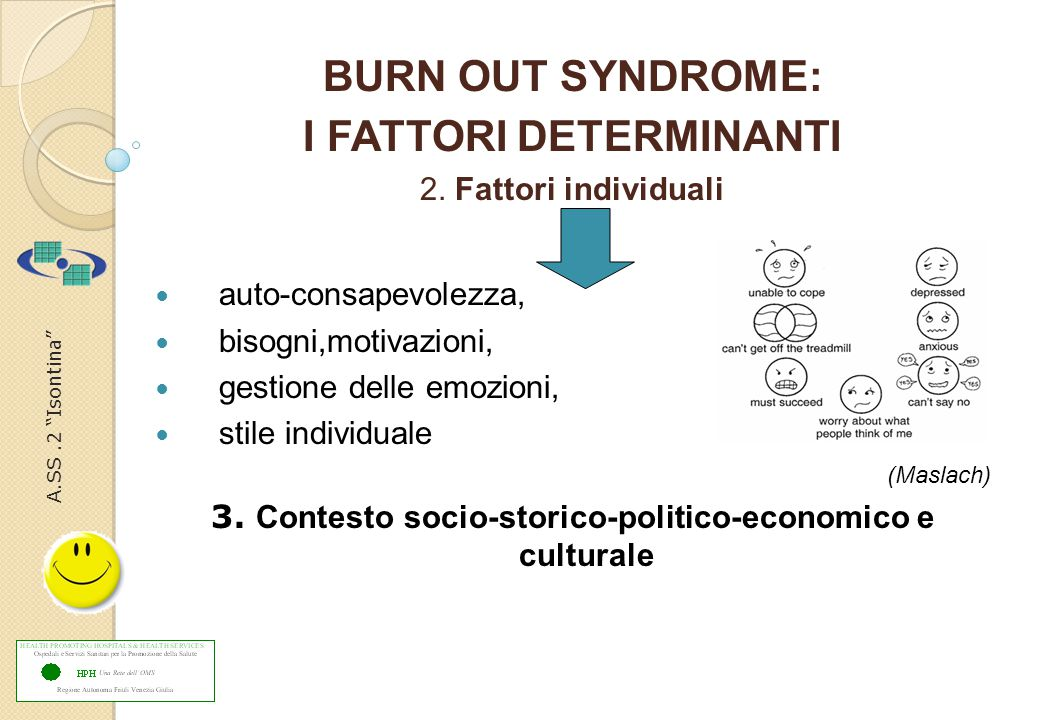 A.SS.2 Isontina BURN OUT SYNDROME: I FATTORI DETERMINANTI 2.