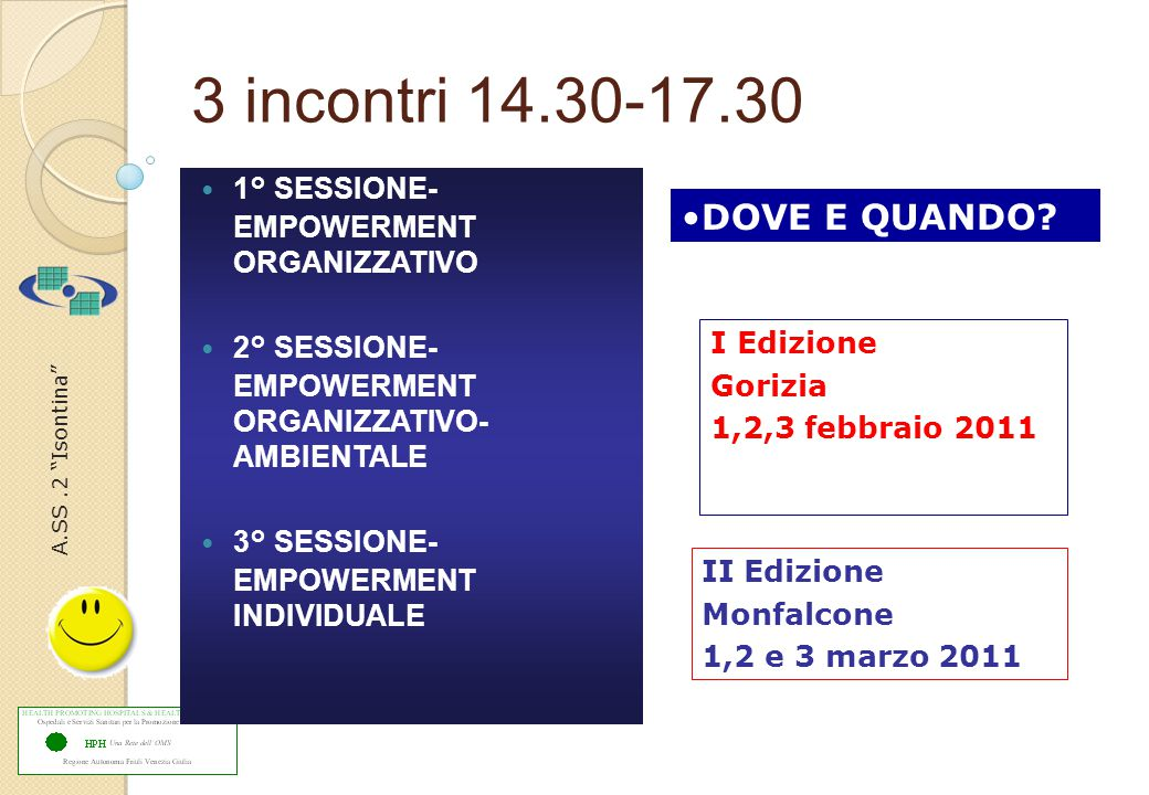 "A.SS.2 ""Isontina"" 3 incontri 14.30-17.30 1° SESSIONE- EMPOWERMENT ORGANIZZATIVO 2° SESSIONE- EMPOWERMENT ORGANIZZATIVO- AMBIENTALE 3° SESSIONE- EMPOWE"