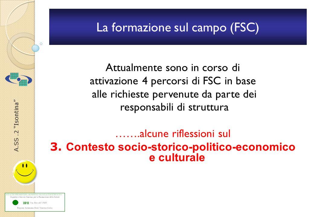 A.SS.2 Isontina La formazione sul campo (FSC) Attualmente sono in corso di attivazione 4 percorsi di FSC in base alle richieste pervenute da parte dei responsabili di struttura …….alcune riflessioni sul 3.