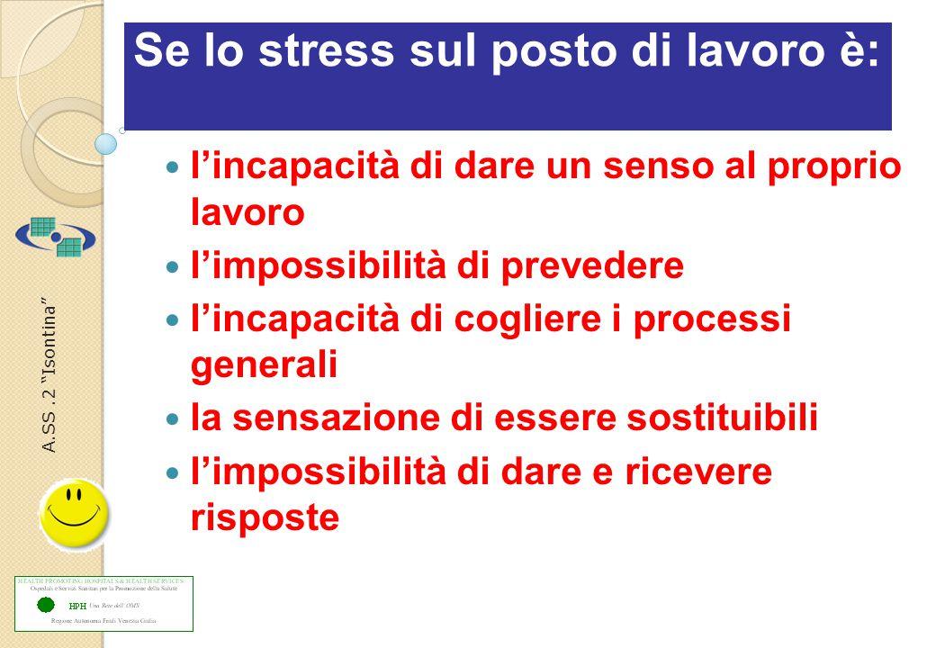 A.SS.2 Isontina Se lo stress sul posto di lavoro è: l'incapacità di dare un senso al proprio lavoro l'impossibilità di prevedere l'incapacità di cogliere i processi generali la sensazione di essere sostituibili l'impossibilità di dare e ricevere risposte