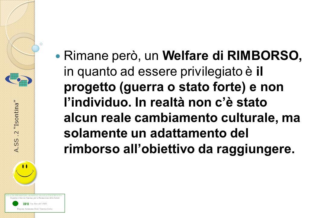 A.SS.2 Isontina Rimane però, un Welfare di RIMBORSO, in quanto ad essere privilegiato è il progetto (guerra o stato forte) e non l'individuo.