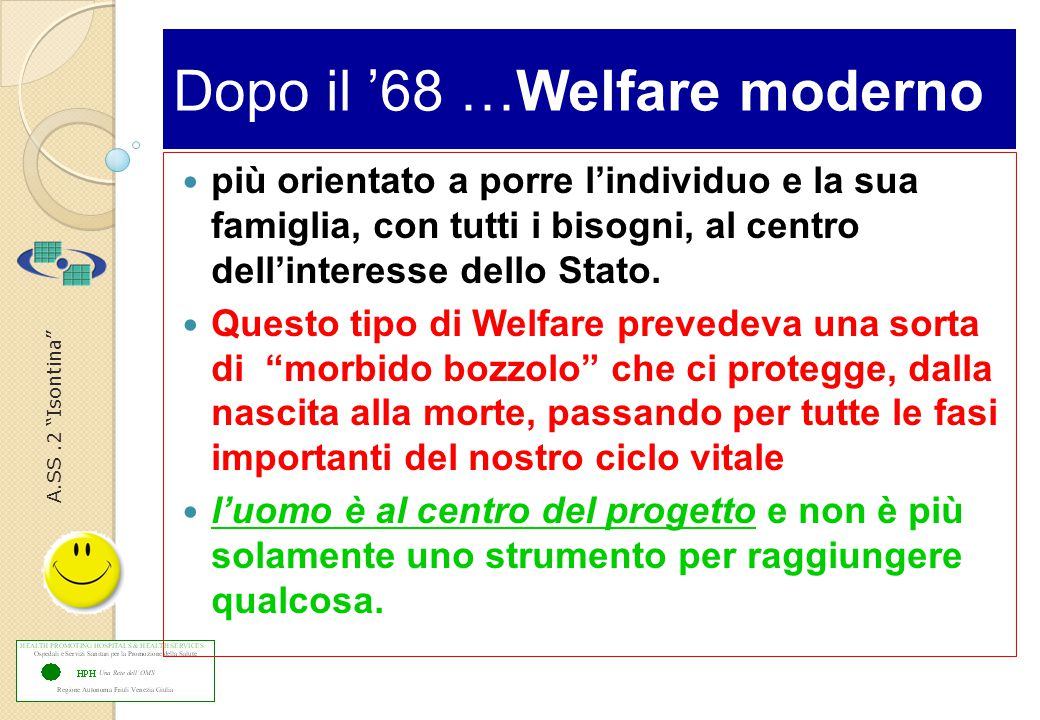 A.SS.2 Isontina Dopo il '68 …Welfare moderno più orientato a porre l'individuo e la sua famiglia, con tutti i bisogni, al centro dell'interesse dello Stato.
