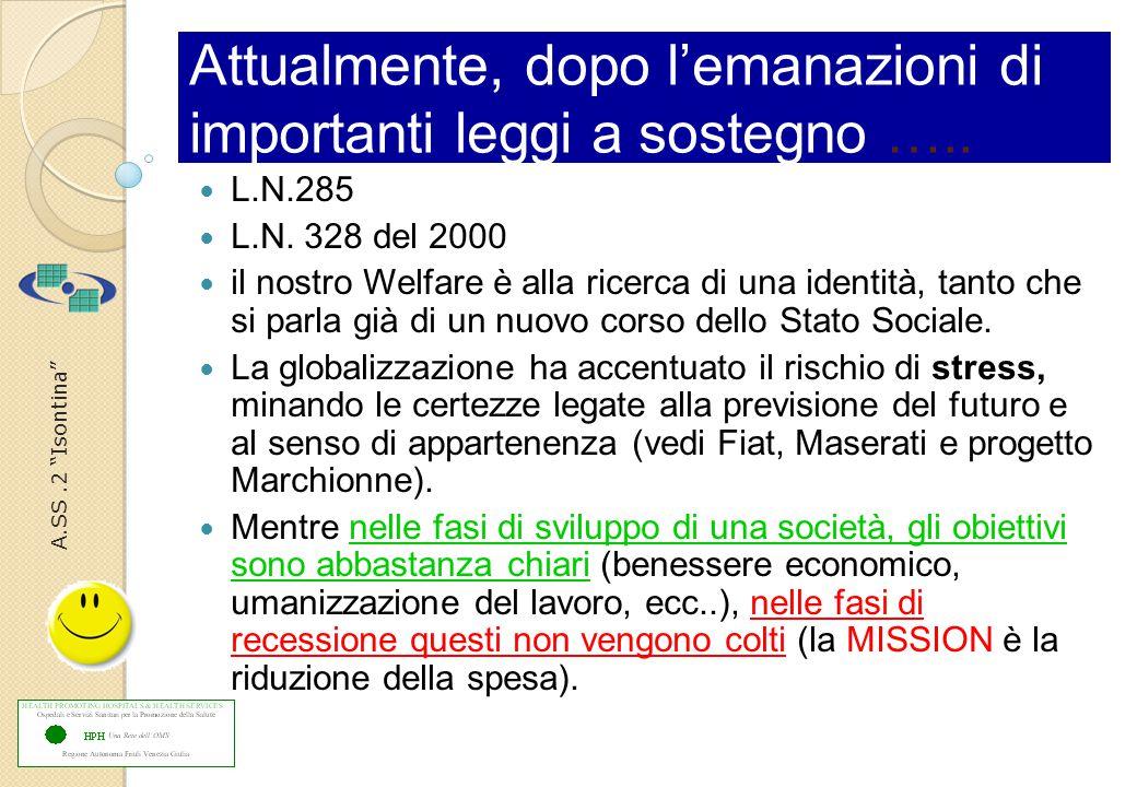A.SS.2 Isontina Attualmente, dopo l'emanazioni di importanti leggi a sostegno …..