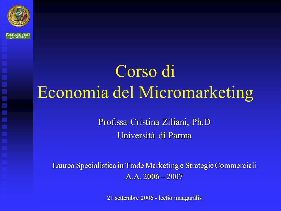 Corso di Economia del Micromarketing Prof.ssa Cristina Ziliani, Ph.D Università di Parma Laurea Specialistica in Trade Marketing e Strategie Commercia