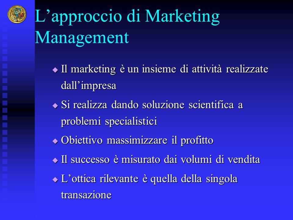  Il marketing è un insieme di attività realizzate dall'impresa  Si realizza dando soluzione scientifica a problemi specialistici  Obiettivo massimi