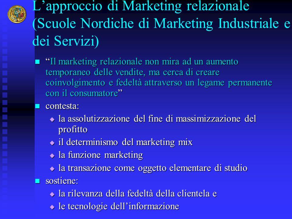 """L'approccio di Marketing relazionale (Scuole Nordiche di Marketing Industriale e dei Servizi) """"Il marketing relazionale non mira ad un aumento tempora"""