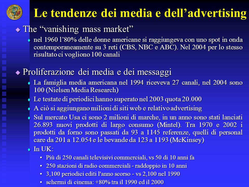 """Le tendenze dei media e dell'advertising  The """"vanishing mass market""""  nel 1960 l'80% delle donne americane si raggiungeva con uno spot in onda cont"""