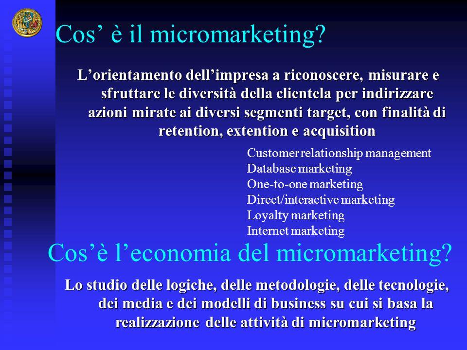 Cos' è il micromarketing? L'orientamento dell'impresa a riconoscere, misurare e sfruttare le diversità della clientela per indirizzare azioni mirate a