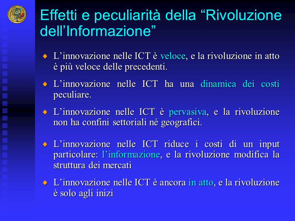 """Effetti e peculiarità della """"Rivoluzione dell'Informazione"""" L'innovazione nelle ICT è veloce, e la rivoluzione in atto è più veloce delle precedenti."""
