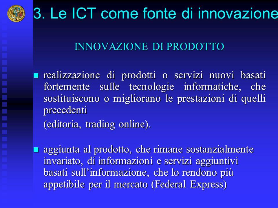 3. Le ICT come fonte di innovazione INNOVAZIONE DI PRODOTTO realizzazione di prodotti o servizi nuovi basati fortemente sulle tecnologie informatiche,