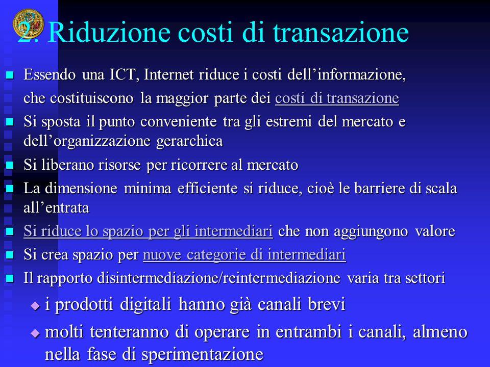 2. Riduzione costi di transazione Essendo una ICT, Internet riduce i costi dell'informazione, Essendo una ICT, Internet riduce i costi dell'informazio