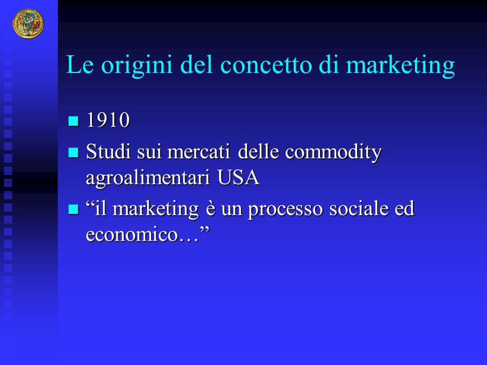 Le origini del concetto di marketing 1910 1910 Studi sui mercati delle commodity agroalimentari USA Studi sui mercati delle commodity agroalimentari U
