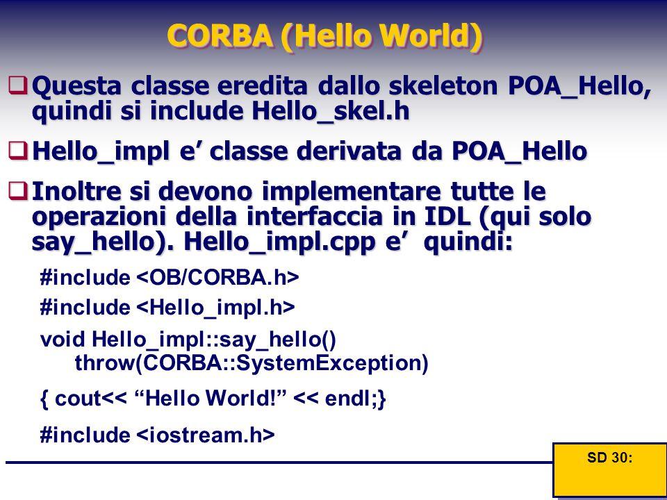 CORBA (Hello World)  Questa classe eredita dallo skeleton POA_Hello, quindi si inlude Hello_skel.h  Questa classe eredita dallo skeleton POA_Hello,