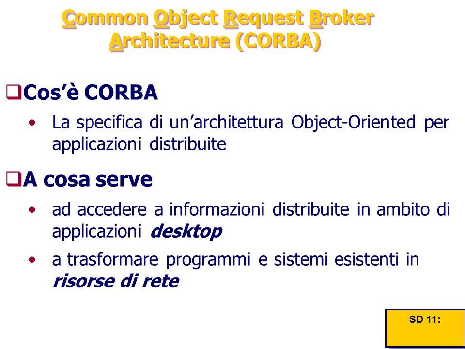 CORB A Common Object Request Broker Architecture (CORBA)  Cos'è CORBA La specifica di un'architettura Object-Oriented per applicazioni distribuite 