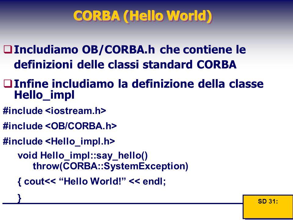 CORBA (Hello World)  Includiamo OB/CORBA.h che contiene le definizioni delle classi standard CORBA  Infine includiamo la definizione della classe He