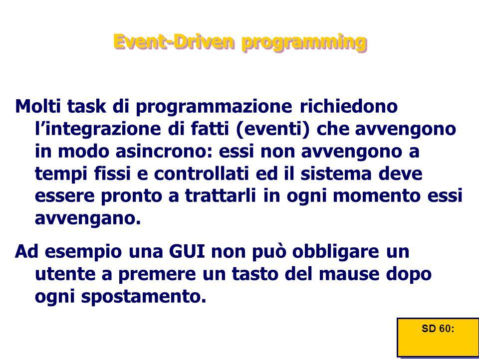 Event-Driven programming Molti task di programmazione richiedono l'integrazione di fatti (eventi) che avvengono in modo asincrono: essi non avvengono