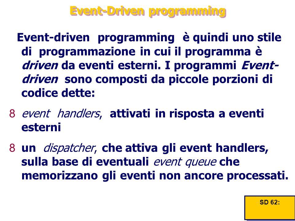 Event-Driven programming Event-driven programming è quindi uno stile di programmazione in cui il programma è driven da eventi esterni. I programmi Eve