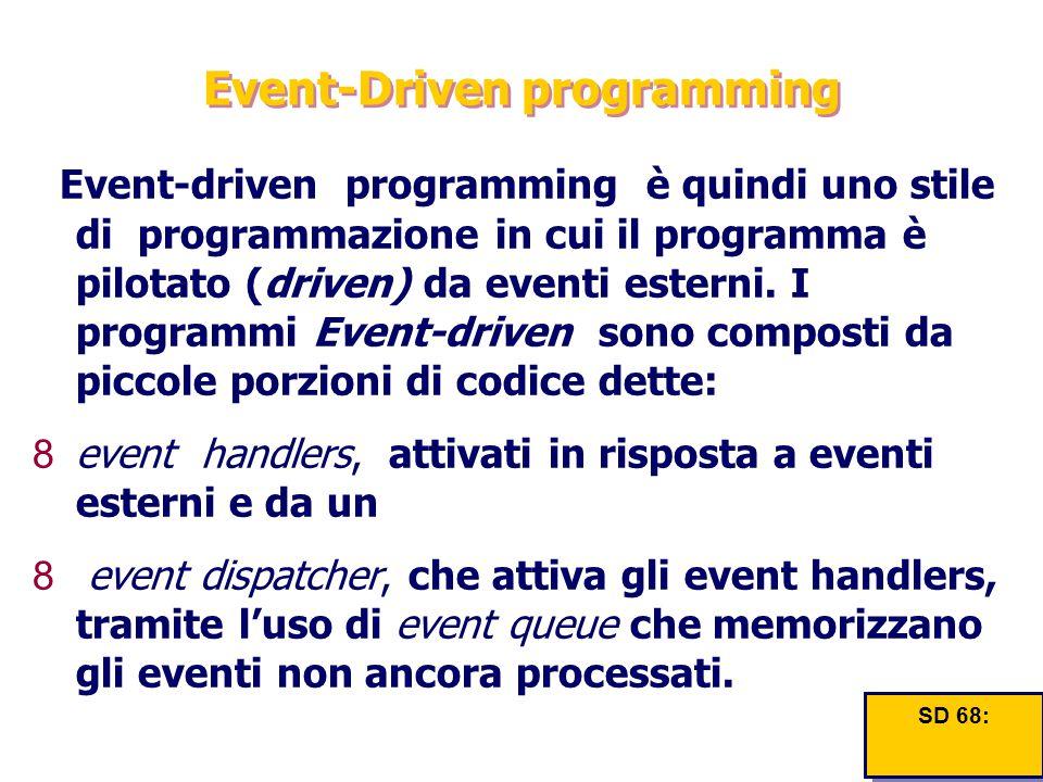 Event-Driven programming Event-driven programming è quindi uno stile di programmazione in cui il programma è pilotato (driven) da eventi esterni. I pr