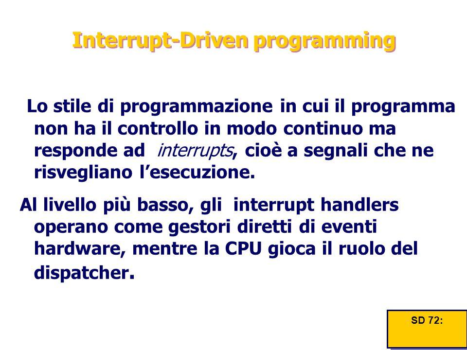 Interrupt-Driven programming Lo stile di programmazione in cui il programma non ha il controllo in modo continuo ma responde ad interrupts, cioè a seg