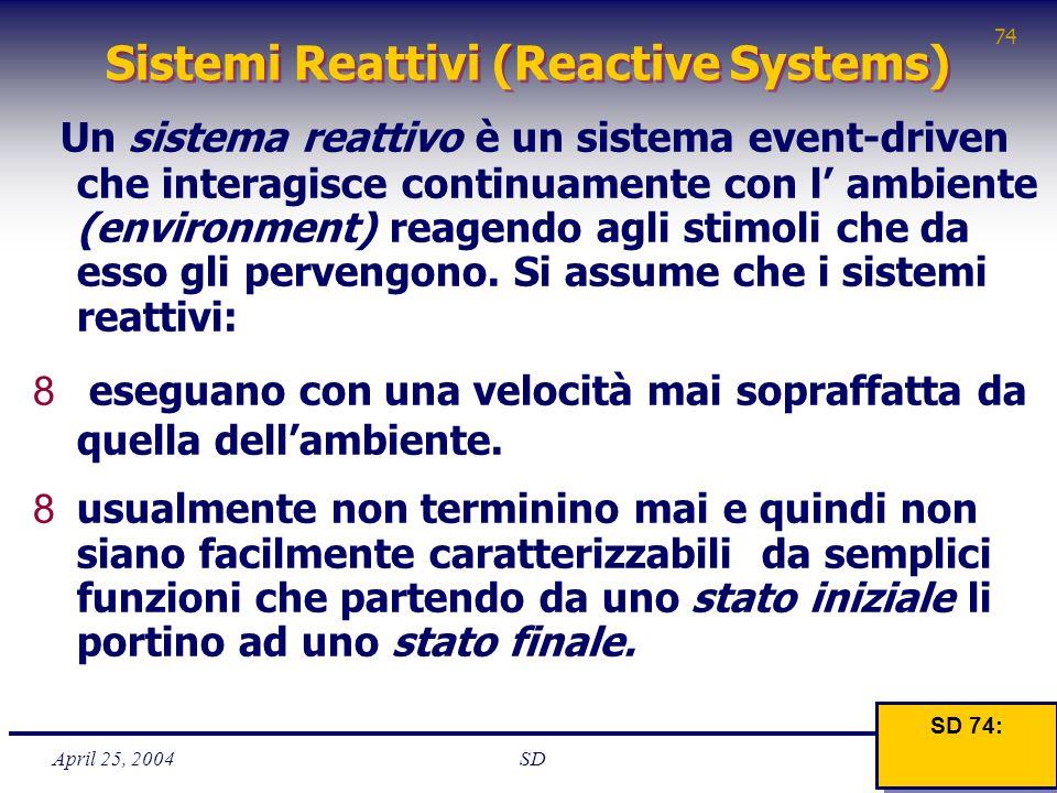 April 25, 2004 74 SD Sistemi Reattivi (Reactive Systems) Un sistema reattivo è un sistema event-driven che interagisce continuamente con l' ambiente (