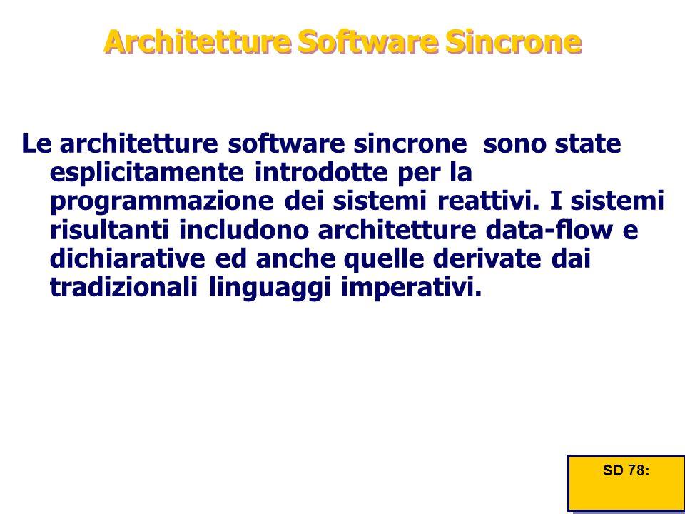 Architetture Software Sincrone Le architetture software sincrone sono state esplicitamente introdotte per la programmazione dei sistemi reattivi. I si