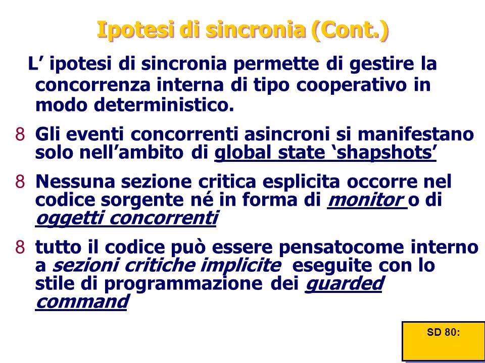 Ipotesi di sincronia (Cont.) L' ipotesi di sincronia permette di gestire la concorrenza interna di tipo cooperativo in modo deterministico. 8Gli event