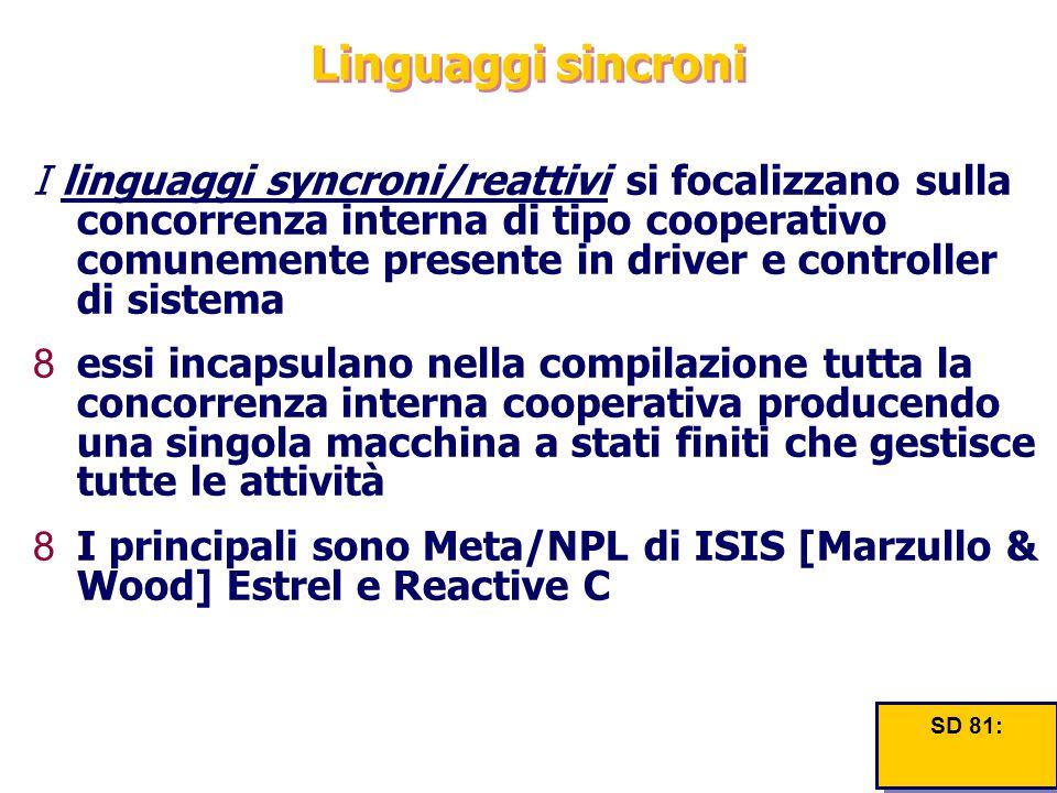 Linguaggi sincroni I linguaggi syncroni/reattivi si focalizzano sulla concorrenza interna di tipo cooperativo comunemente presente in driver e control