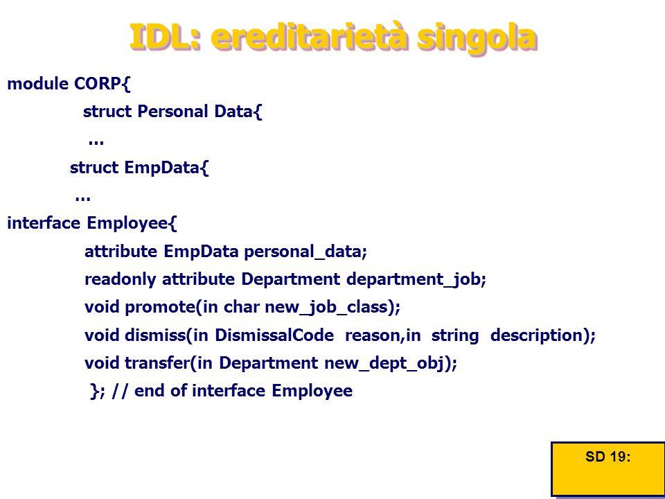 IDL: ereditarietà singola module CORP{ struct Personal Data{ … struct EmpData{...