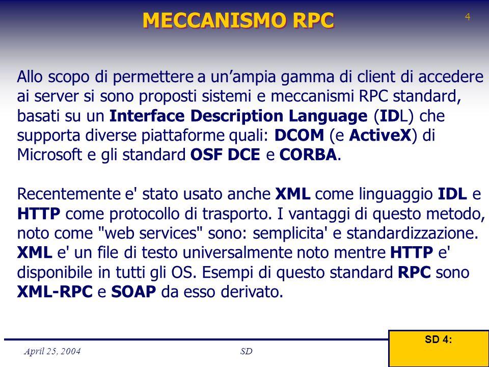 April 25, 2004 4 SD MECCANISMO RPC SD 4: Allo scopo di permettere a un'ampia gamma di client di accedere ai server si sono proposti sistemi e meccanis