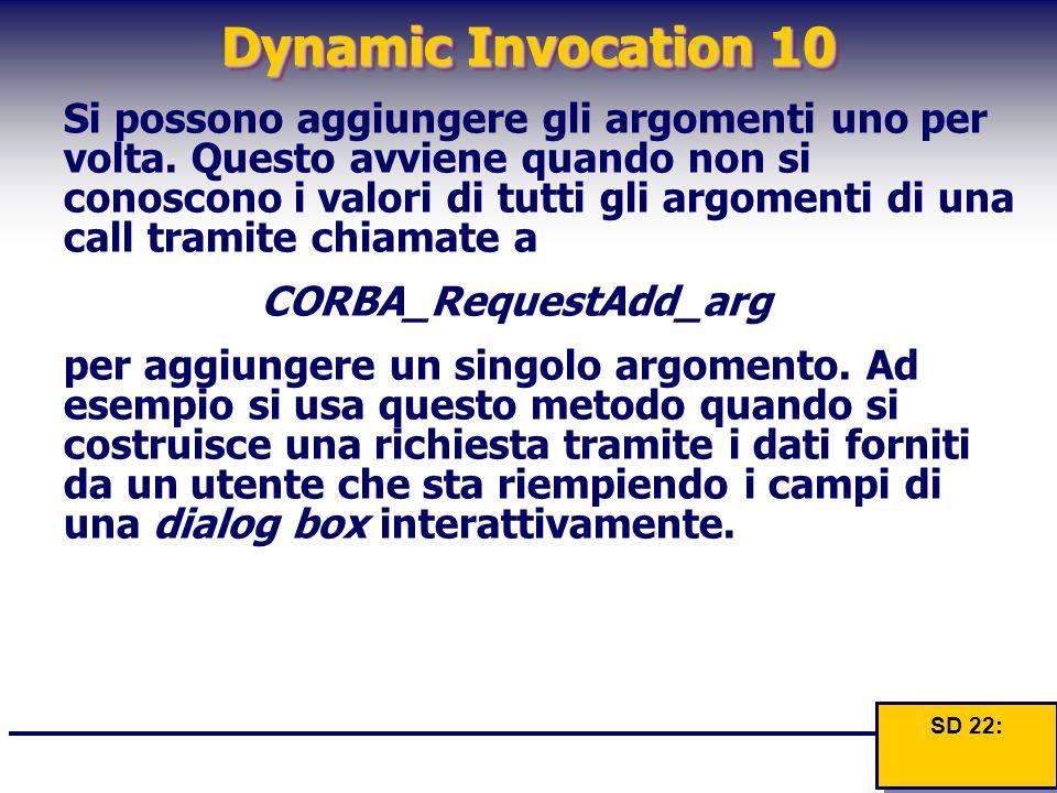 Dynamic Invocation 10 Si possono aggiungere gli argomenti uno per volta. Questo avviene quando non si conoscono i valori di tutti gli argomenti di una