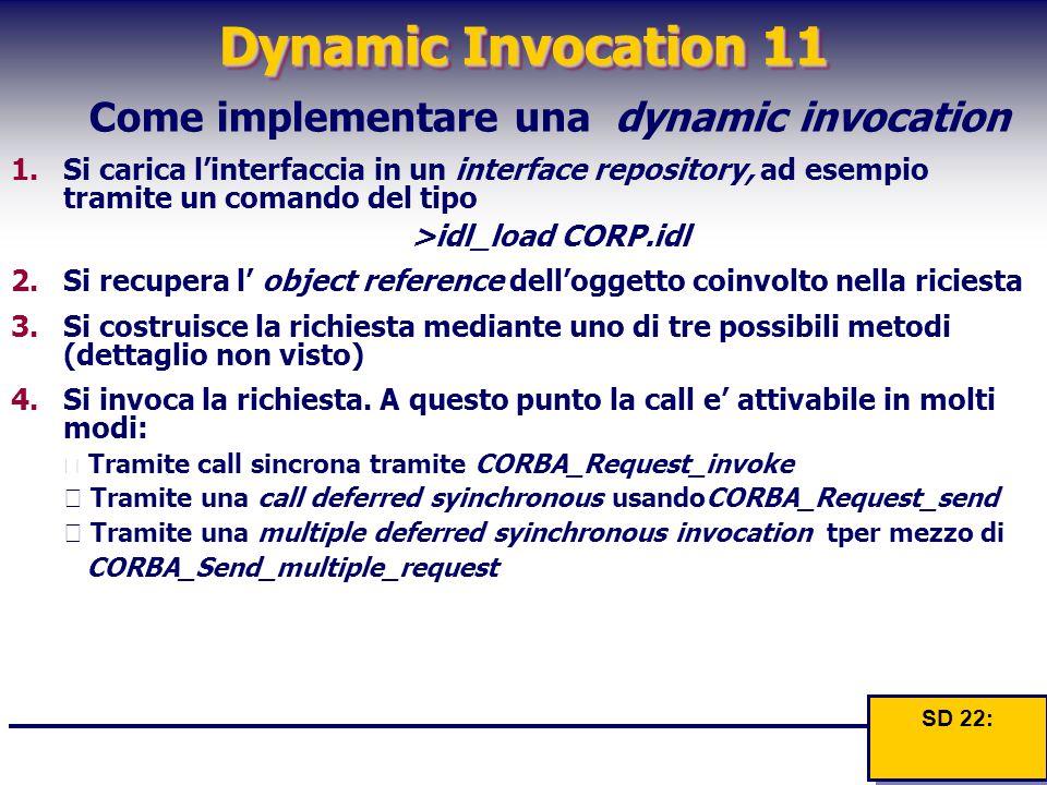 Dynamic Invocation 11 Come implementare una dynamic invocation 1.Si carica l'interfaccia in un interface repository, ad esempio tramite un comando del tipo >idl_load CORP.idl 2.Si recupera l' object reference dell'oggetto coinvolto nella riciesta 3.Si costruisce la richiesta mediante uno di tre possibili metodi (dettaglio non visto) 4.Si invoca la richiesta.