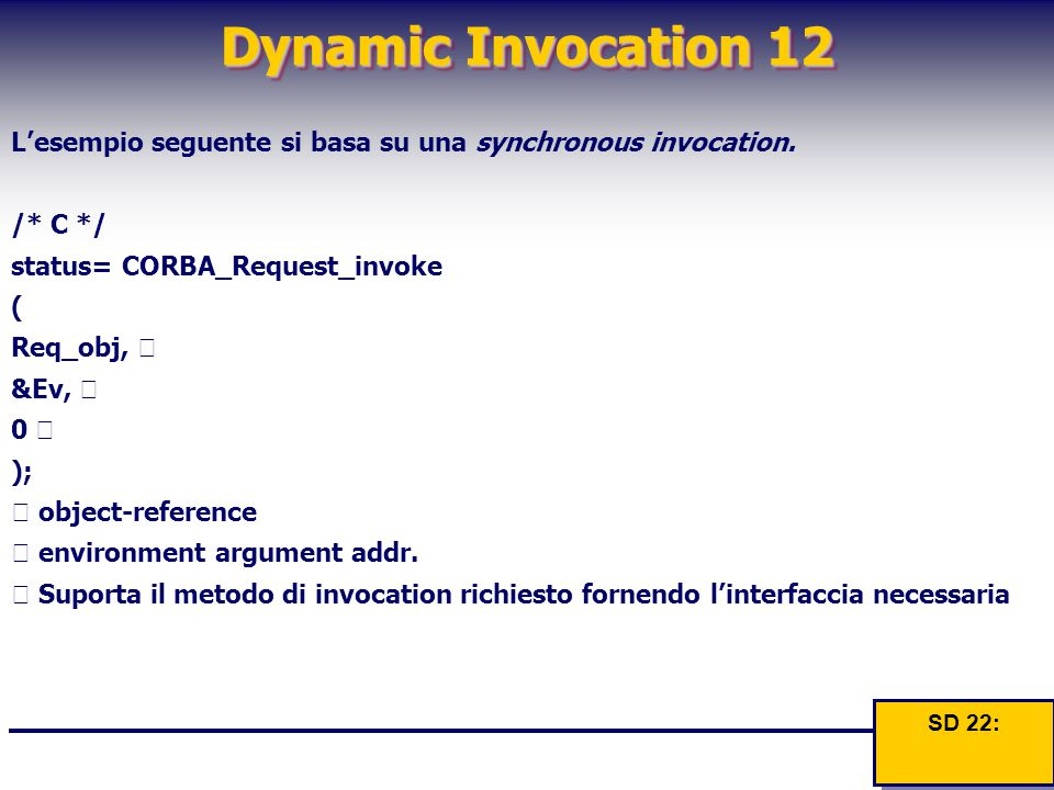 Dynamic Invocation 12 L'esempio seguente si basa su una synchronous invocation.