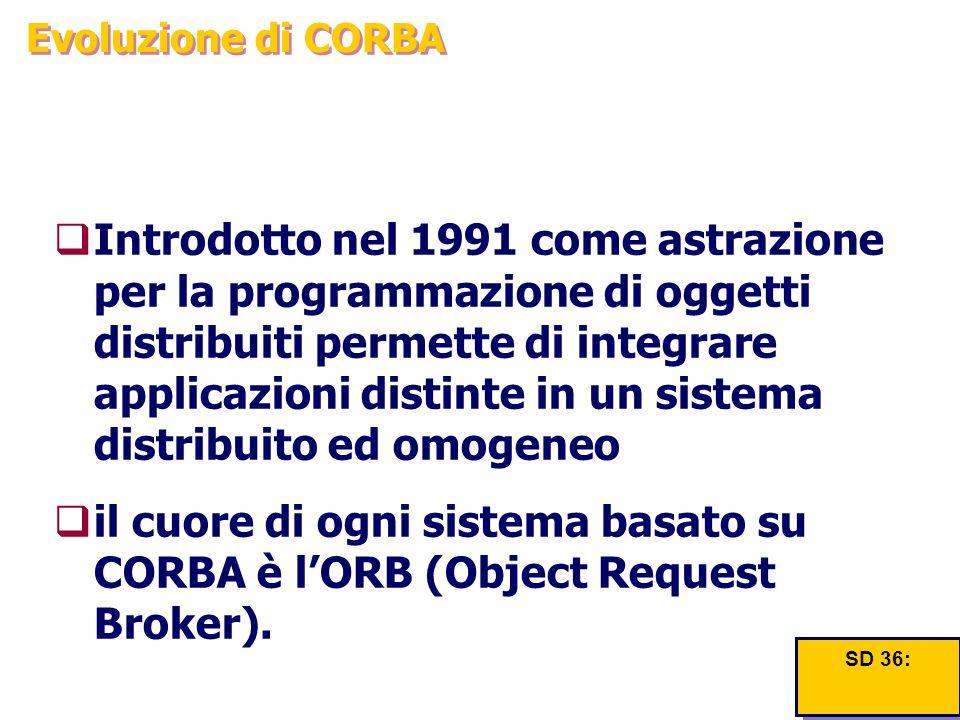 Evoluzione di CORBA  Introdotto nel 1991 come astrazione per la programmazione di oggetti distribuiti permette di integrare applicazioni distinte in