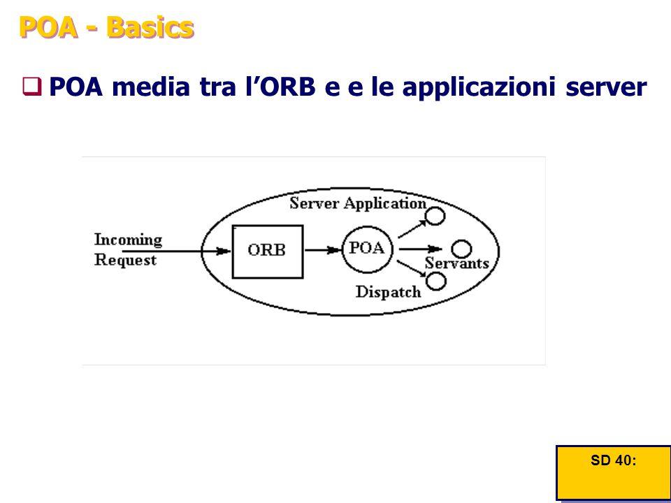 POA - Basics  POA media tra l'ORB e e le applicazioni server SD 40: