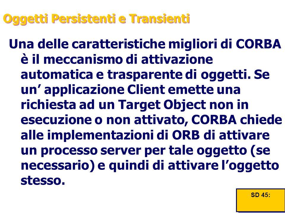 Oggetti Persistenti e Transienti Una delle caratteristiche migliori di CORBA è il meccanismo di attivazione automatica e trasparente di oggetti. Se un